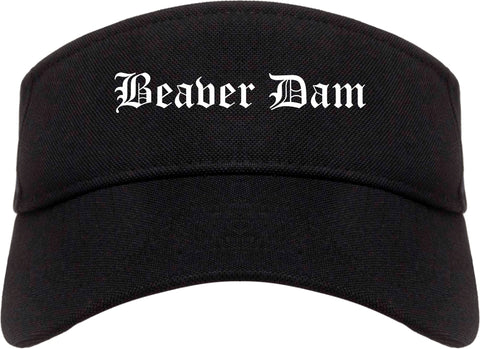 Beaver Dam Wisconsin WI Old English Mens Visor Cap Hat Black