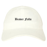 Beaver Falls Pennsylvania PA Old English Mens Dad Hat Baseball Cap White