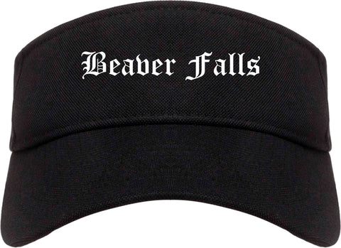 Beaver Falls Pennsylvania PA Old English Mens Visor Cap Hat Black