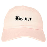 Beaver Pennsylvania PA Old English Mens Dad Hat Baseball Cap Pink
