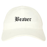 Beaver Pennsylvania PA Old English Mens Dad Hat Baseball Cap White