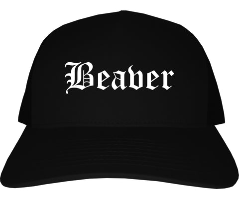 Beaver Pennsylvania PA Old English Mens Trucker Hat Cap Black
