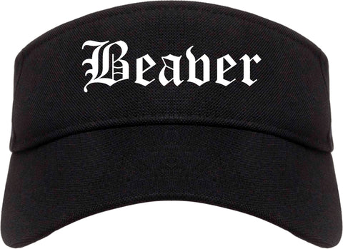 Beaver Pennsylvania PA Old English Mens Visor Cap Hat Black
