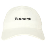 Beavercreek Ohio OH Old English Mens Dad Hat Baseball Cap White