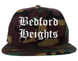 Bedford Heights Ohio OH Old English Mens Snapback Hat Army Camo