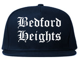 Bedford Heights Ohio OH Old English Mens Snapback Hat Navy Blue