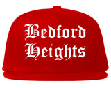 Bedford Heights Ohio OH Old English Mens Snapback Hat Red