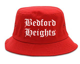 Bedford Heights Ohio OH Old English Mens Bucket Hat Red