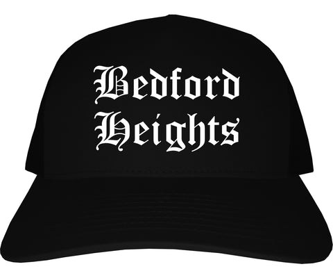 Bedford Heights Ohio OH Old English Mens Trucker Hat Cap Black