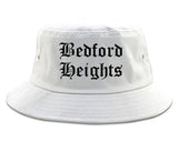 Bedford Heights Ohio OH Old English Mens Bucket Hat White