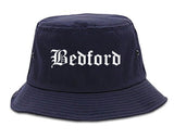 Bedford Indiana IN Old English Mens Bucket Hat Navy Blue
