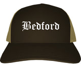 Bedford Indiana IN Old English Mens Trucker Hat Cap Brown