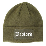 Bedford Ohio OH Old English Mens Knit Beanie Hat Cap Olive Green