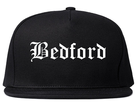 Bedford Virginia VA Old English Mens Snapback Hat Black