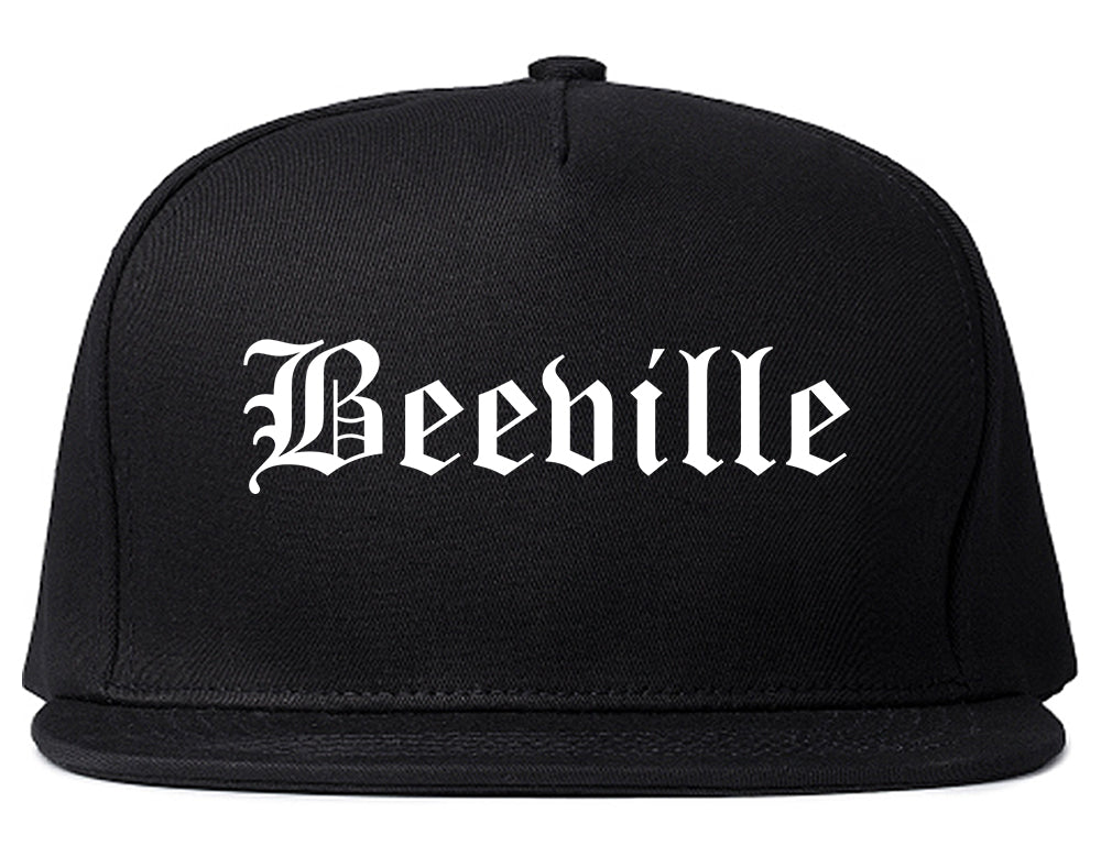 Beeville Texas TX Old English Mens Snapback Hat Black