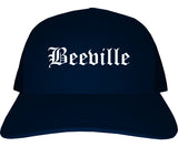 Beeville Texas TX Old English Mens Trucker Hat Cap Navy Blue