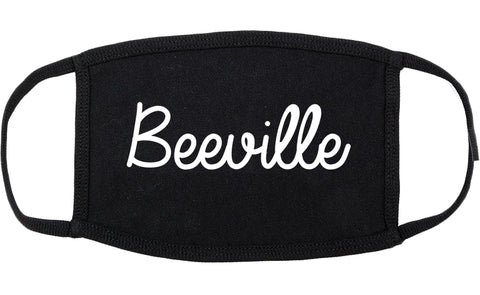 Beeville Texas TX Script Cotton Face Mask Black