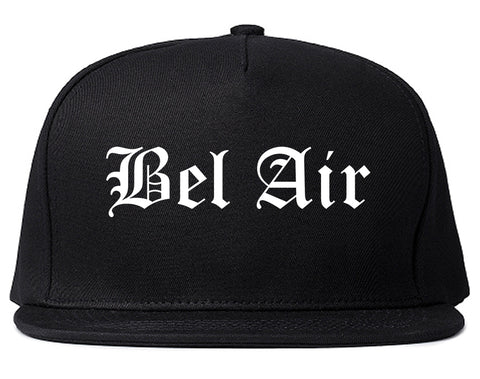 Bel Air Maryland MD Old English Mens Snapback Hat Black