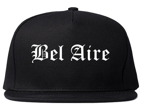 Bel Aire Kansas KS Old English Mens Snapback Hat Black
