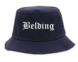 Belding Michigan MI Old English Mens Bucket Hat Navy Blue