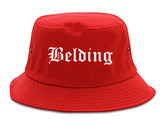 Belding Michigan MI Old English Mens Bucket Hat Red
