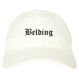 Belding Michigan MI Old English Mens Dad Hat Baseball Cap White