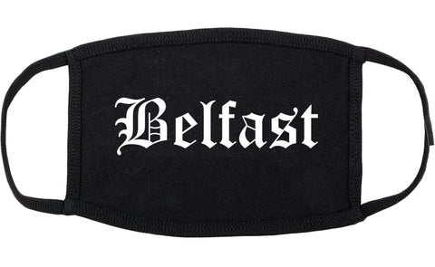 Belfast Maine ME Old English Cotton Face Mask Black