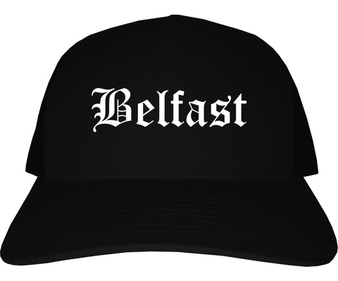 Belfast Maine ME Old English Mens Trucker Hat Cap Black