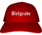 Belgrade Montana MT Old English Mens Trucker Hat Cap Red