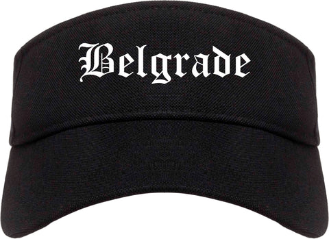 Belgrade Montana MT Old English Mens Visor Cap Hat Black