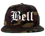 Bell California CA Old English Mens Snapback Hat Army Camo