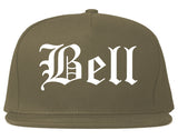 Bell California CA Old English Mens Snapback Hat Grey