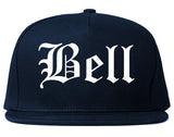 Bell California CA Old English Mens Snapback Hat Navy Blue