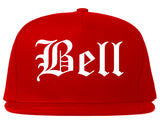 Bell California CA Old English Mens Snapback Hat Red