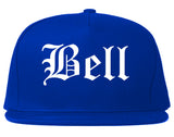 Bell California CA Old English Mens Snapback Hat Royal Blue