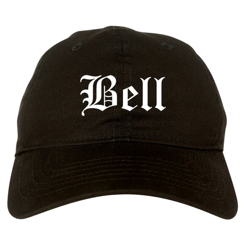 Bell California CA Old English Mens Dad Hat Baseball Cap Black