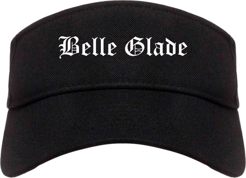 Belle Glade Florida FL Old English Mens Visor Cap Hat Black