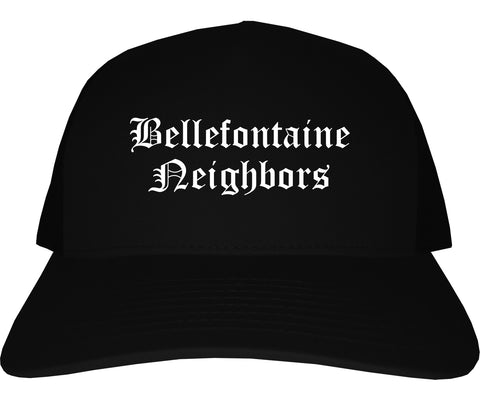 Bellefontaine Neighbors Missouri MO Old English Mens Trucker Hat Cap Black