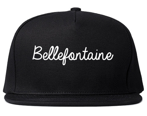 Bellefontaine Ohio OH Script Mens Snapback Hat Black