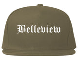 Belleview Florida FL Old English Mens Snapback Hat Grey