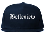 Belleview Florida FL Old English Mens Snapback Hat Navy Blue