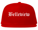 Belleview Florida FL Old English Mens Snapback Hat Red