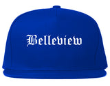 Belleview Florida FL Old English Mens Snapback Hat Royal Blue