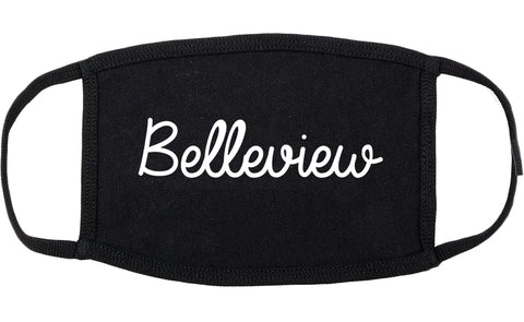 Belleview Florida FL Script Cotton Face Mask Black