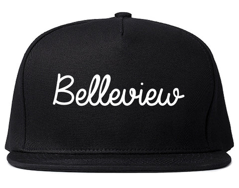 Belleview Florida FL Script Mens Snapback Hat Black
