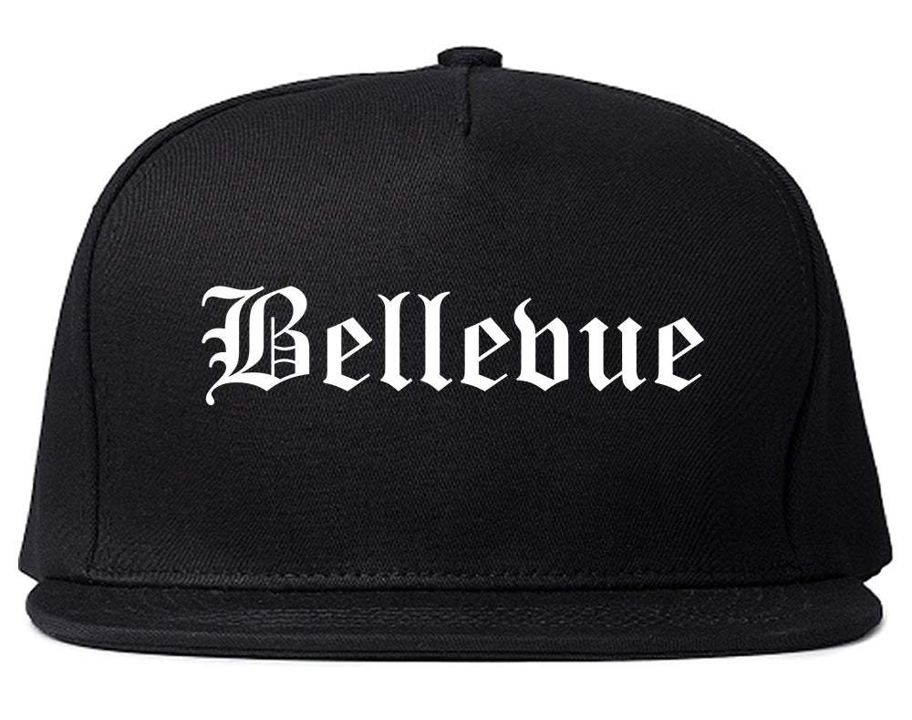 Bellevue Ohio OH Old English Mens Snapback Hat Black