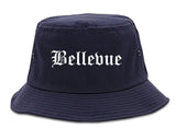 Bellevue Ohio OH Old English Mens Bucket Hat Navy Blue