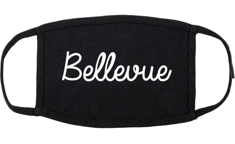 Bellevue Ohio OH Script Cotton Face Mask Black