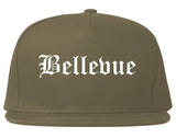 Bellevue Washington WA Old English Mens Snapback Hat Grey