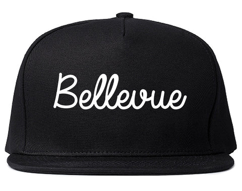 Bellevue Washington WA Script Mens Snapback Hat Black